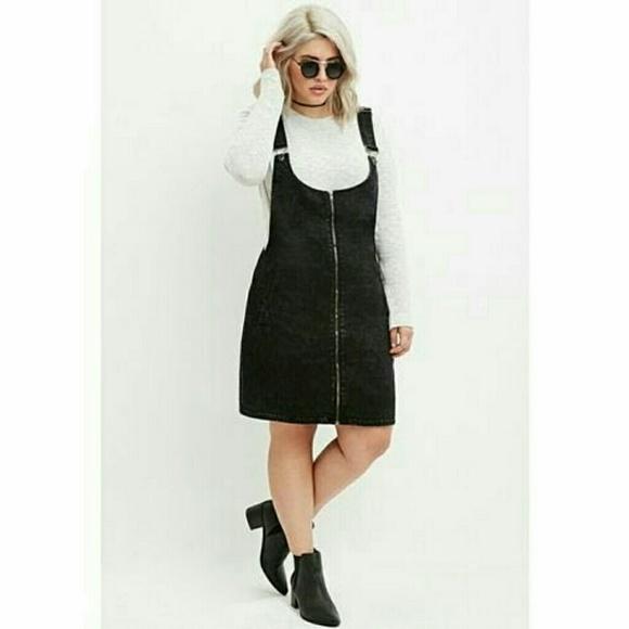 Forever 21 Dresses Plus Size Black Zip Front Overall Dress Poshmark
